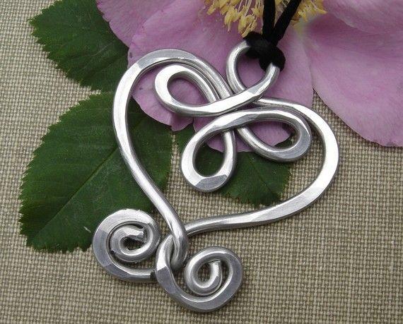 Big Celtic Heart Aluminum Pendant by nicholasandfelice on Etsy, $ 12.00