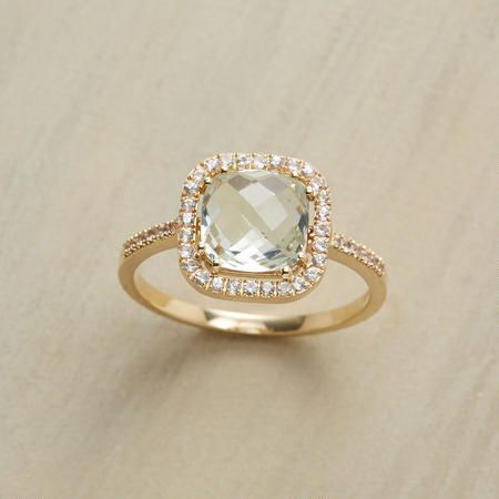 Pale Pillow Ring {pale green amethyst and white sapphires}