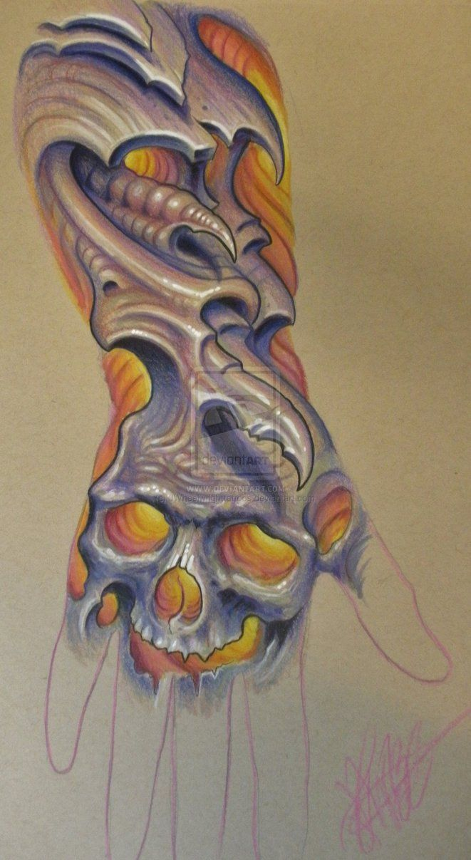 Biomechanical tattoos designs - Grey Ink Bio Organic Skull Tattoo On Shoulder Real Photo Pictures