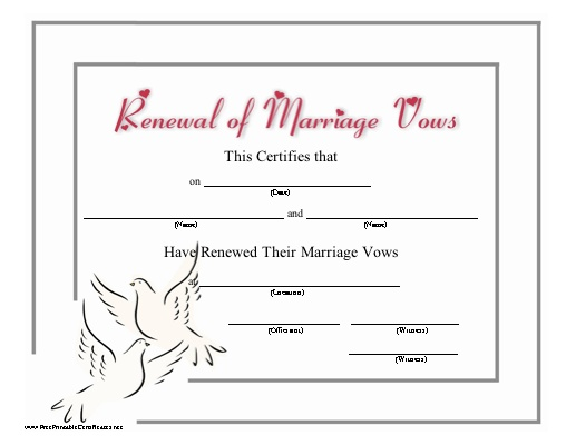 This certificate recognizing the renewal of wedding vows ...