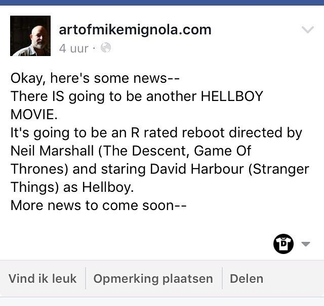 Let's wake up with some exciting news: Hellboy creator Mike Mignola made an announcement on his Facebookpage. Let's see when @bosslogic comes up with his interpretation of the new Hellboy.  What are your thoughts on this? #hellboy #mikemignola #neilmarshall #gameofthrones #davidharbour #strangerthings #darkhorse #comics #darkhorsecomics #comic #comicart #comicgerk #geek #geekstuff #geekculture #nerd #comicbook #comicbooks #news #rrated
