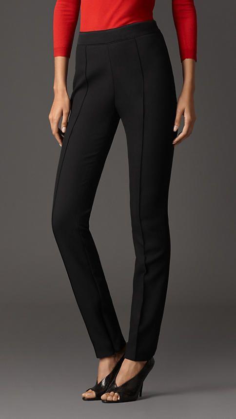 Pantalones entallados con cintura alta y detalle en satén | Burberry