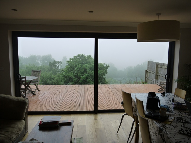 Sliding doors - shame about the mist - amazing view!