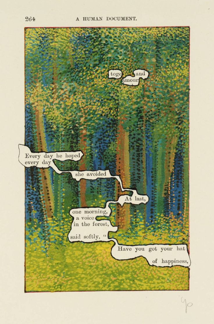 Tom Phillips ~ [no title: p. 264], From A Humument Vol. IV, 1970 (lithograph on paper)