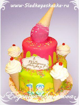 Торт с мороженым и конфетами