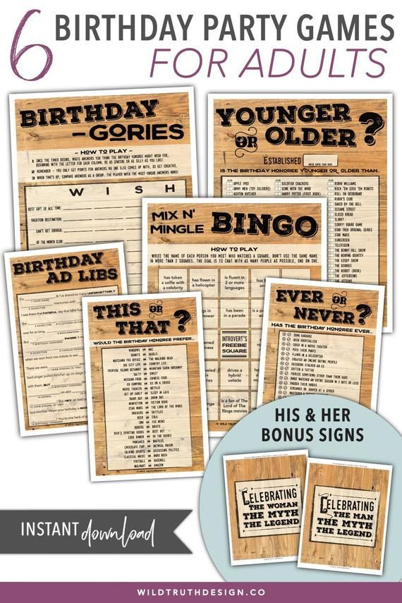 This pack of adult birthday games for men & women are