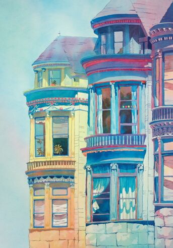 Watercolor of townhouses in San Francisco's Haight Ashbury district by Nancy Orme Mysakme Mysak