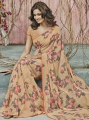 Light Coffee & Pink Color Georgette Party Wear Sarees : Prishika Collection  YF-40838