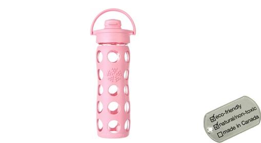 Glass Water Bottle - flip cap peony 450ml