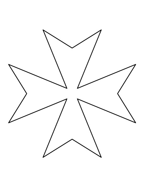 Maltese cross pattern. Use the printable outline for crafts, creating stencils, scrapbooking, and more. Free PDF template to download and print at http://patternuniverse.com/download/maltese-cross-pattern/