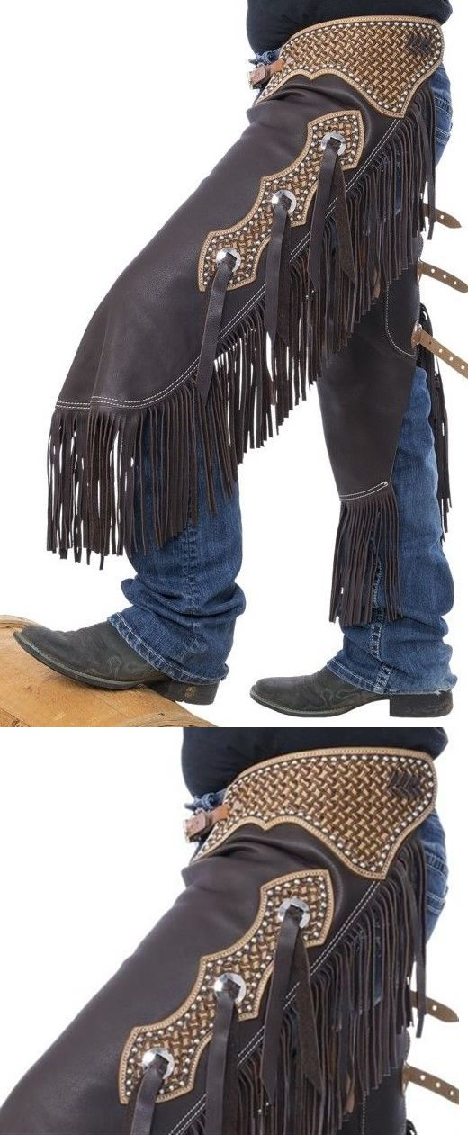Western Chaps Full Chaps 183358: Western Chinks Chaps - Spider Tooled Yoke Smooth Brown Leather - S,M,L -> BUY IT NOW ONLY: $193.59 on eBay!