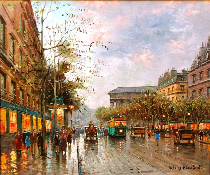 This oil on canvas street scene by Antoine Blanchard (Fr ...