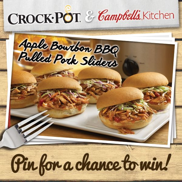 Celebrate summer with Apple Bourbon BBQ Pulled Pork Sliders, made your in your Crock-Pot® Slow Cooker with Campbell's® Slow Cooker Sauces! Enter our Pinterest contest for your chance to win a Crock-Pot® Slow Cooker & selection of Campbell's® Slow Cooker Sauces. Visit http://on.fb.me/1gGDw09 to enter. Contest ends 8/24/14. #CrockPot #SlowCooker #Campbells #recipe #pork #slider #BBQ #contest #CampbellsSauces #sponsored