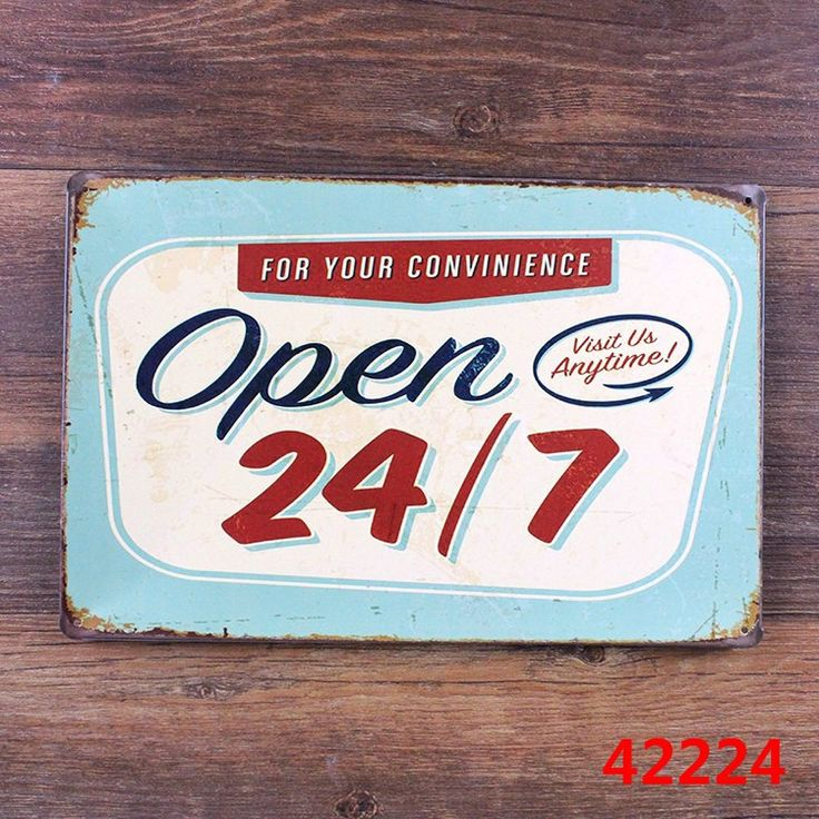 Bar Cafe OPEN VISIT ANYTIME 24/7 Home Decor Wall Sticker Decor Iron Retro Tin Metal Signs Plaques 20*30cm $4.8