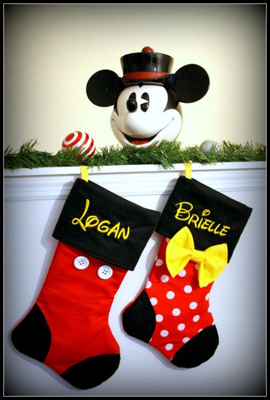 CHRISTMAS STOCKINGS  Disney Inspired Mickey by ThePolkaDotLollipop, $30.00