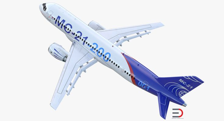 Twinjet Airliner MC-21 200 Rigged 3D model