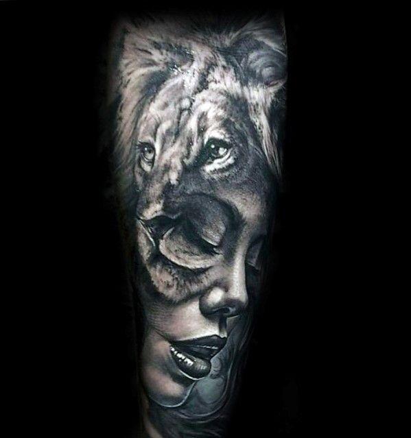 Female Portrait With Lion Mens Forearm Sleeve Tattoo Design Ideas