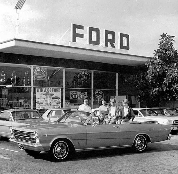 Ford Truck Dealership: Galaxie Cuties (and A Row Of New Mustangs)… 1966