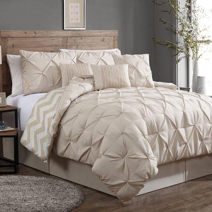 Amazon.com - Geneva Home Fashion 8-Piece Ella Pinch Pleat Comforter Set, Queen, Taupe -