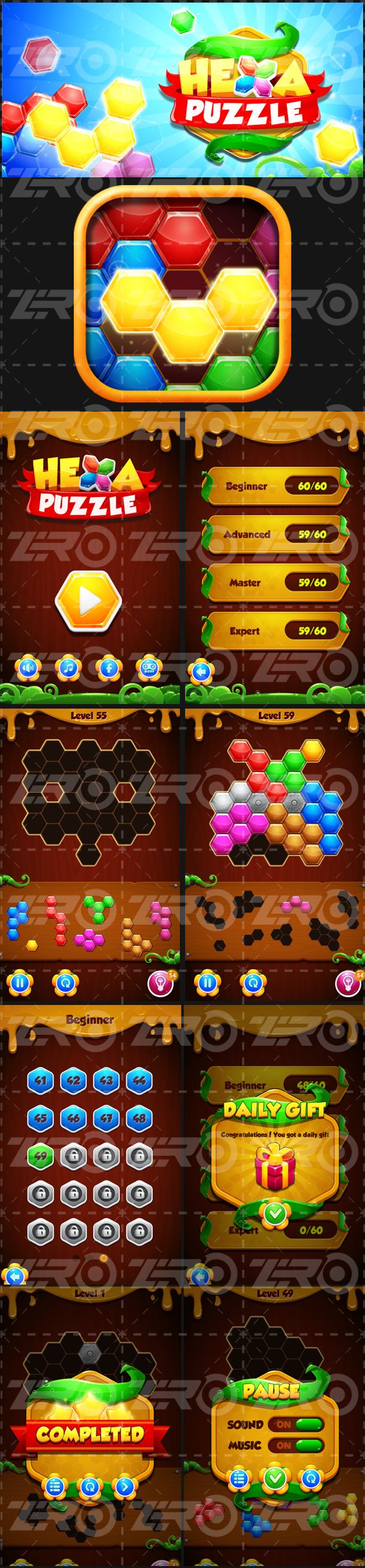Hexa Puzzle - Block Mania game UI design on Behance