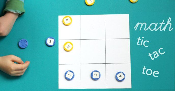 Math tic tac toe game helps kids practice mental math skills, basic addition and game strategy. Good math game for the classroom or at home.