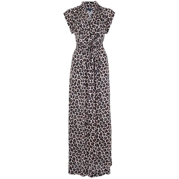 French Connection Anna Jersey Maxi Dress, Powder/Black ($115) ❤ liked on Polyvore featuring dresses, black maxi dress, animal print maxi dress, black v neck dress, summer maxi dresses and cap sleeve dress