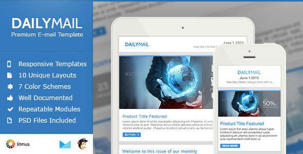 180 Absolute Best Responsive Email Templates - Daily Mail - Clean & Responsive Email Template