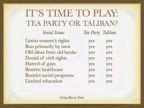 Hmm I don't think the Tea party thinks this of themselves but it's TRUE!