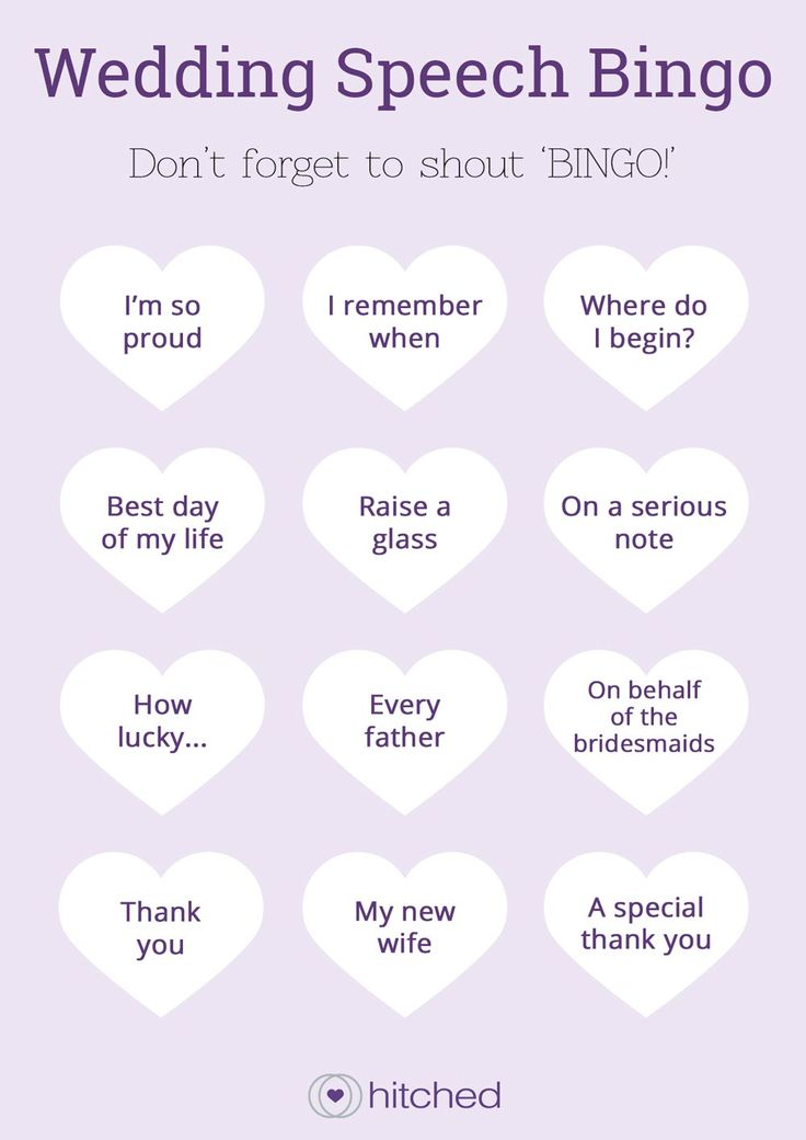 Wedding speech bingo from hitched