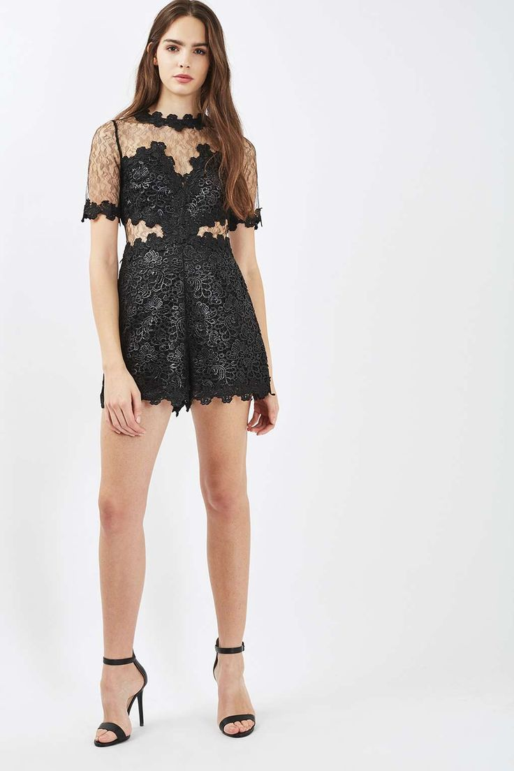 Coated Lace Playsuit - Topshop USA