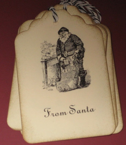 Set of 8 Gift Tags Vintage Santa with Sack