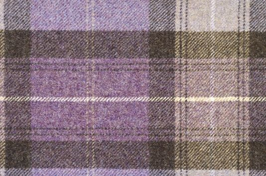 Skye Tartan Fabric 100% Wool tartan in charcoal and dark lavender with an additional light oat stripe.