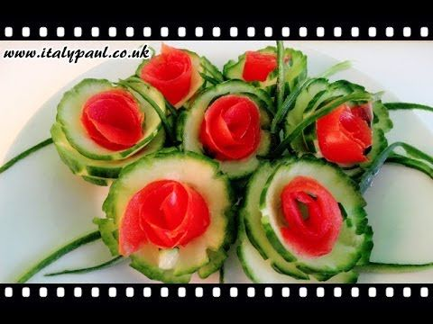 ▶ Art In Cucumber Tomato Show - Vegetable Carving Rose Tutorial - YouTube
