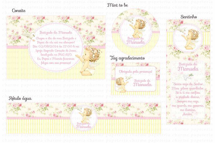 Kit digital Batizado menina Anjinha Provençal - Amarelo e Rosa