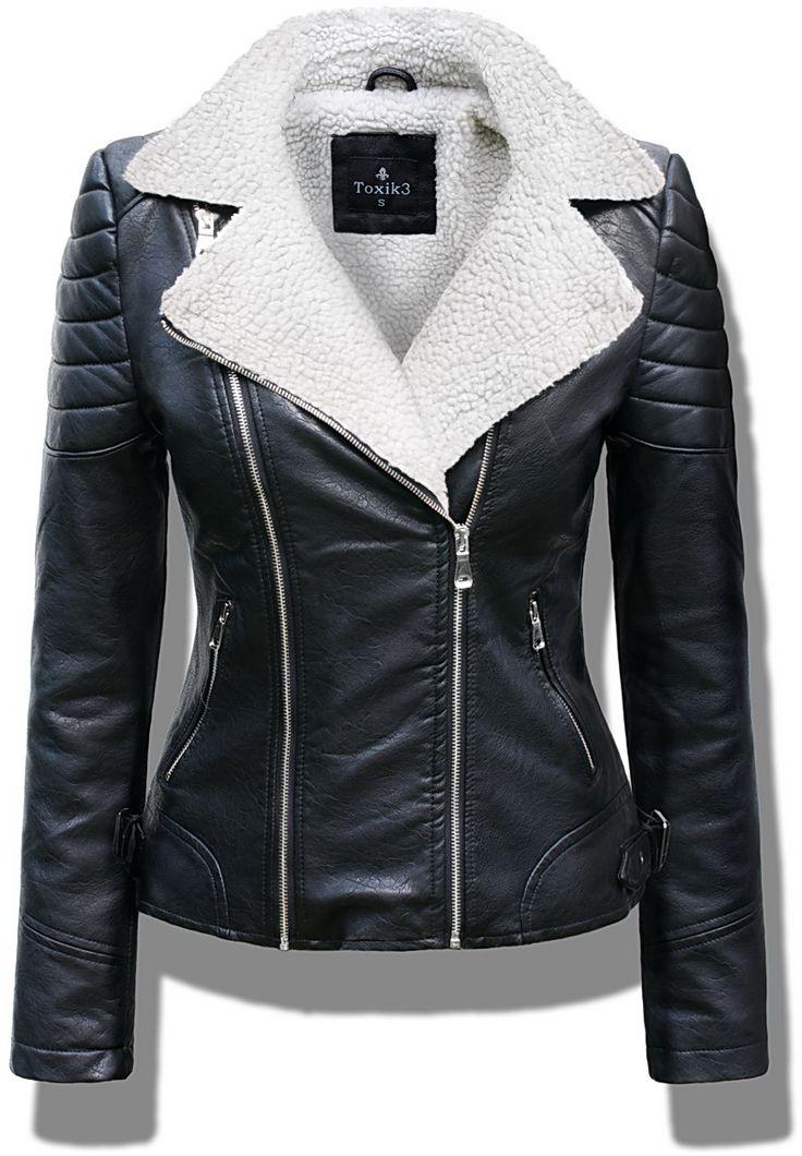 Mięciutka kurtka damska ramoneska jesienna ze skóry podszyta barankiem z duzym kołnierzem zapinana na zamek model #103 w sklepie fashionavenue.pl