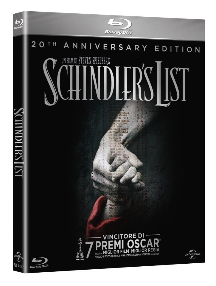 Schindler's List 20th Anniversary Definitive Edition, con il film restaurato dalla pellicola originale, la e-copy, un'ora di contenuti speciali, un libro fotografico, un booklet di 16 pagine, cartoline e molto altro