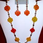 #158-158A Orange & Yellow Square Crosses Jewelry Set