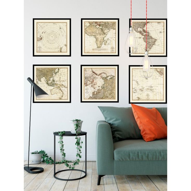 Antique map decor - set of six maps covering the World. Awesome log cabin wall art. Handmade paper print from 109,99€. Shipment worldwide. World map on wall. Living room map decor.