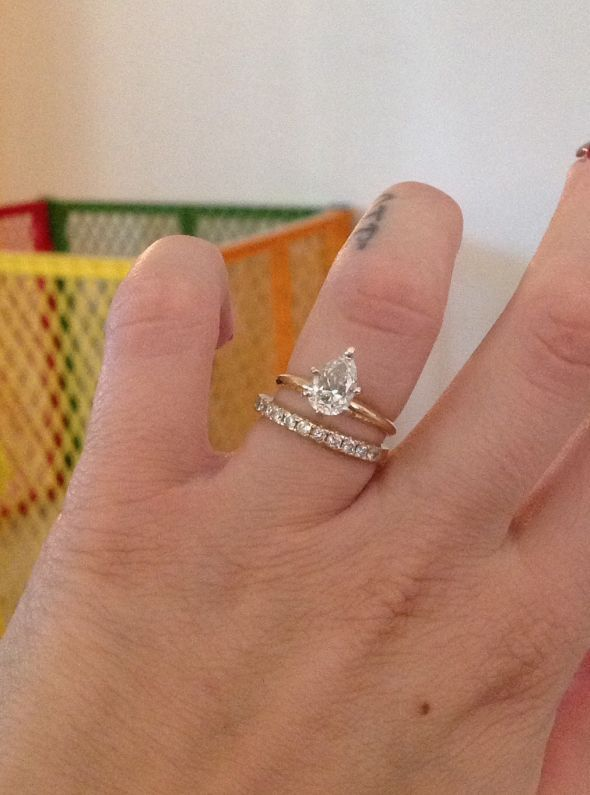 Plain Pear Solitaire needing advice for Wedding Band « Weddingbee Boards