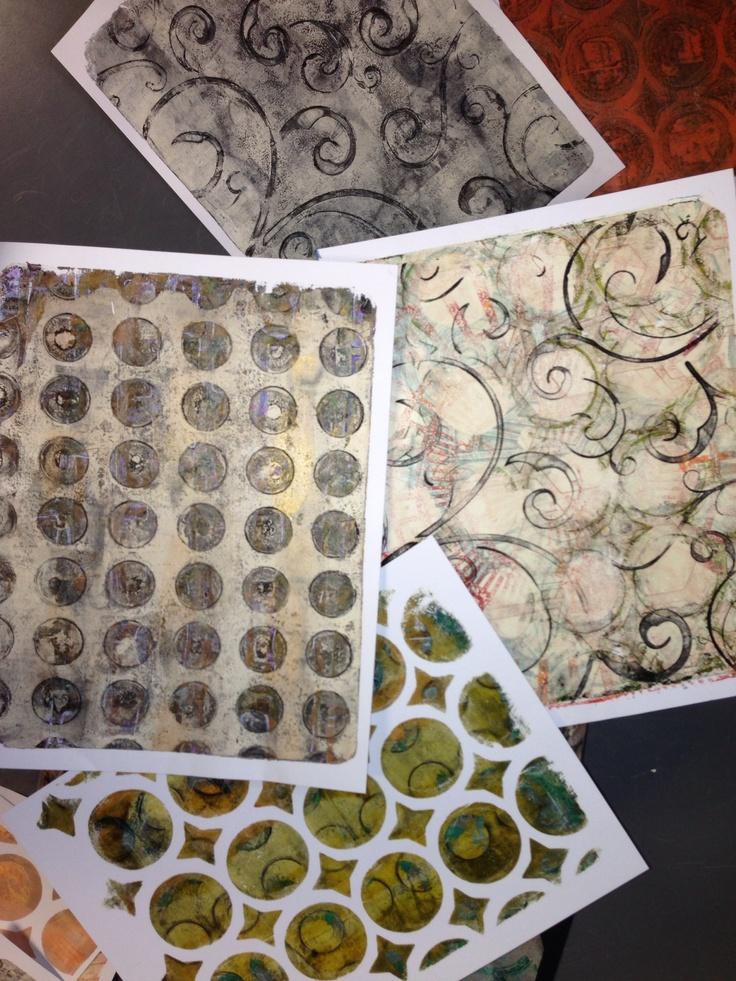 Some gelli plate prints www.inkyobsessions.blogspot.com