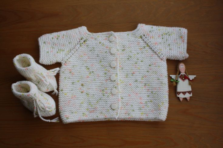 BABY CARDIGAN and BOOTIES, Hand-Knitted Short Sleeve Cardigan and Booties, Cream Cardigan& Booties, Baby Size For 0-3 Months, Baby Gift