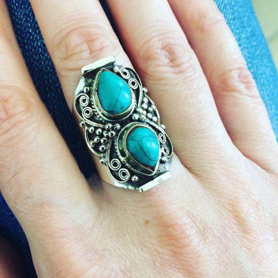 Tibetaanse vintage turkoois edelsteen ring Boheemse sieraden Gypsy sieraden