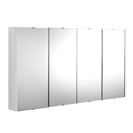 £119Turin White Minimalist 4 Door Mirror Cabinet - W1200 x D110mm