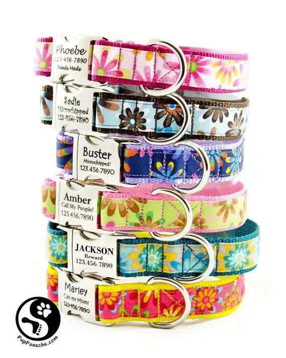 Gorgeous personalized dog collars! Sturdy, beautiful cotton fabric on nylon webbing.  PLEASE, PLEASE, PLEASE take the time to read sizing and