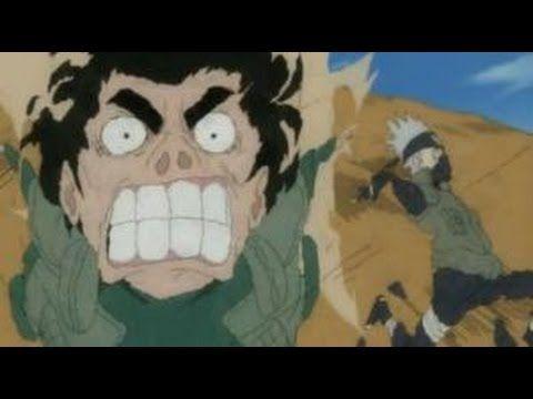 Naruto Funny Moment- Kakashi and Gai race! {English Dub}