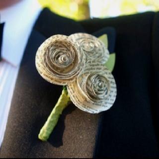 Paper flower boutineer  - love!