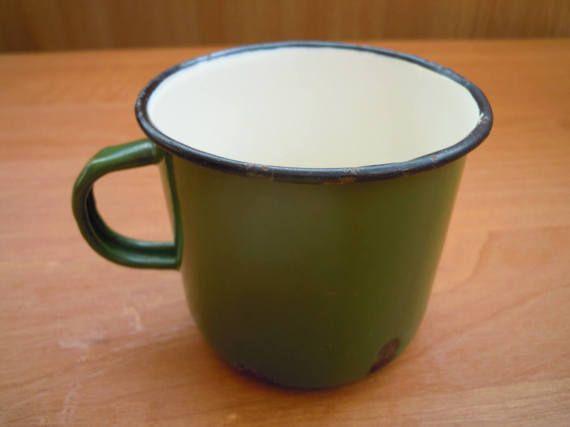 Old metal cup. Enamel cup. Vintage 1970s. от VintageIhorUA на Etsy