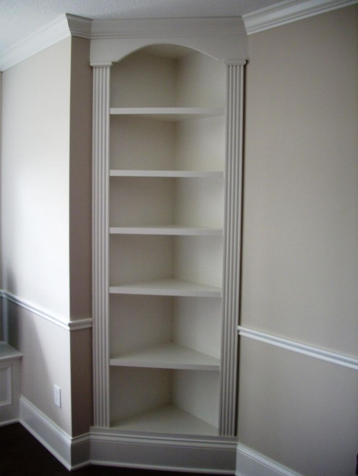 "I have a corner shelf that could be painted, and molding could be put around it for a ""built in"" effect... hmmmmm....."