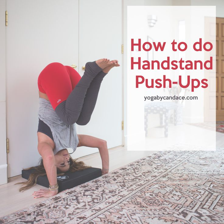Pin now, practice later! How to do handstand push ups. Wearing: Alo yoga goddess pants, Hardtail forever top. Using: Clever Yoga balance pad.