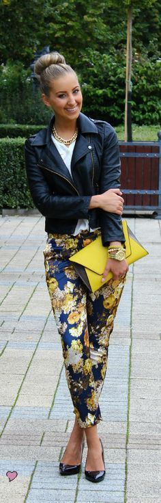 Cute printed pants with leather pants and heels